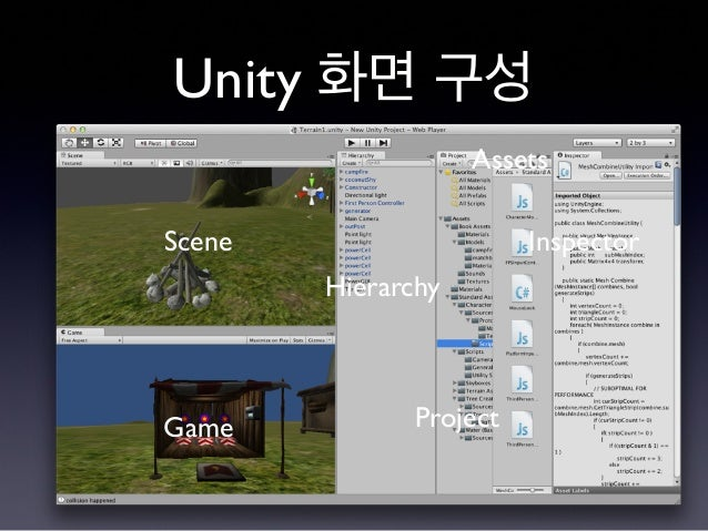 Unity 화면 구성 Scene Game Hierarchy Project Assets Inspector