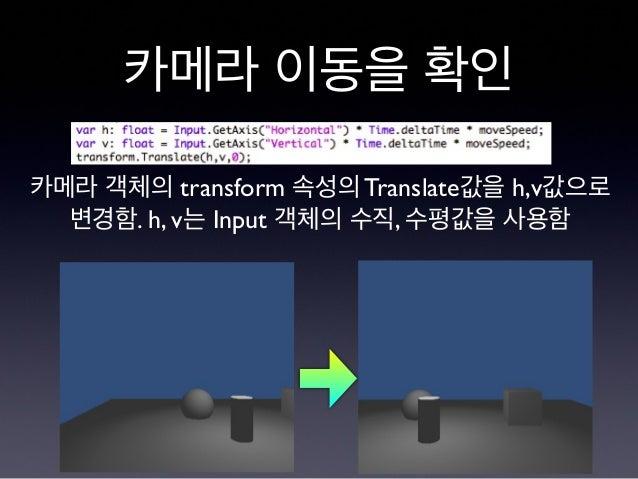 카메라 이동을 확인 카메라 객체의 transform 속성의 Translate값을 h,v값으로 변경함. h, v는 Input 객체의 수직, 수평값을 사용함