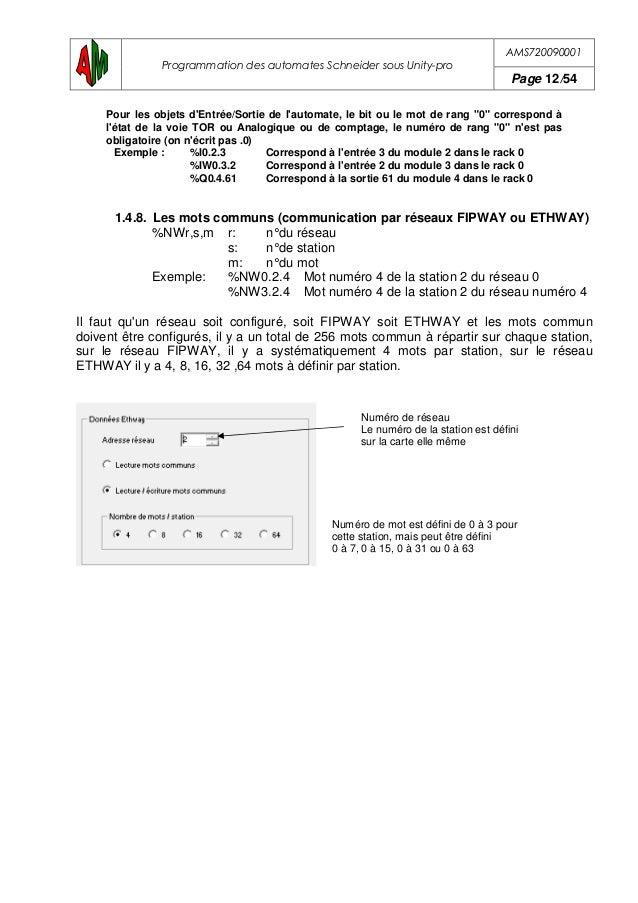 AMS720090001 Programmation des automates Schneider sous Unity-pro Page 13/54 2. ADRESSES DES CARTES Numéro de rack Numéro ...
