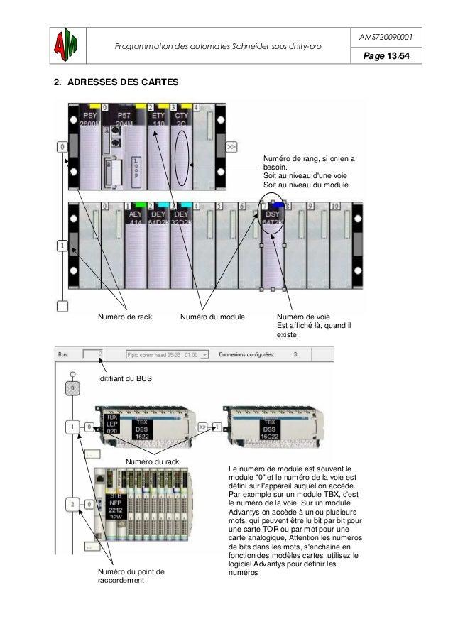 AMS720090001 Programmation des automates Schneider sous Unity-pro Page 14/54 2.1.Exemple de l'objet carte d'entrée emplace...