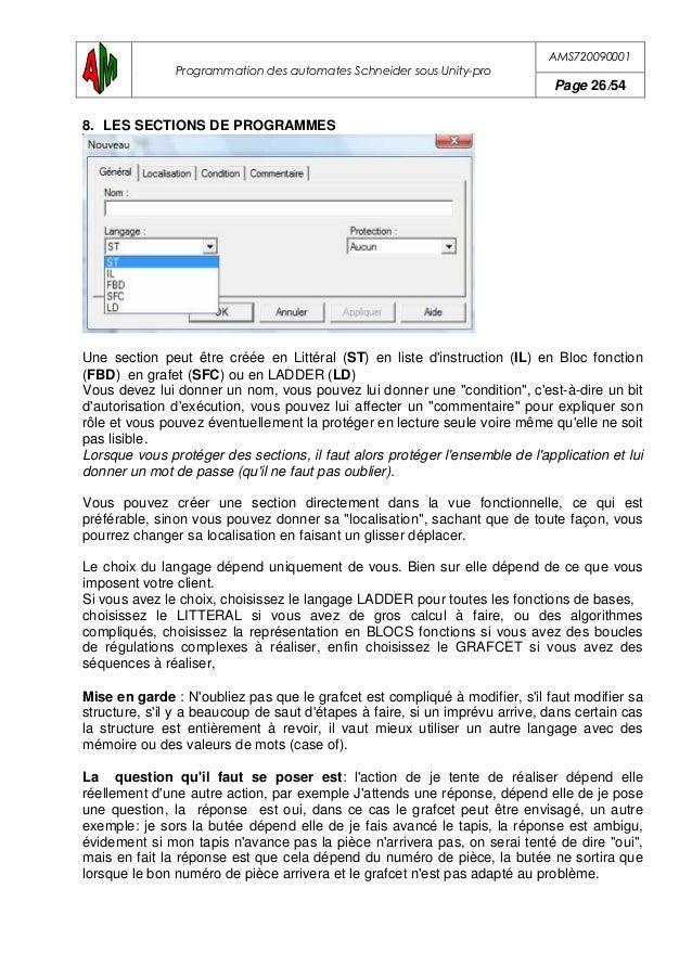"""AMS720090001 Programmation des automates Schneider sous Unity-pro Page 27/54 9. LE LANGAGE LADDER OU """"LD"""" 9.1.Exemple d'un..."""