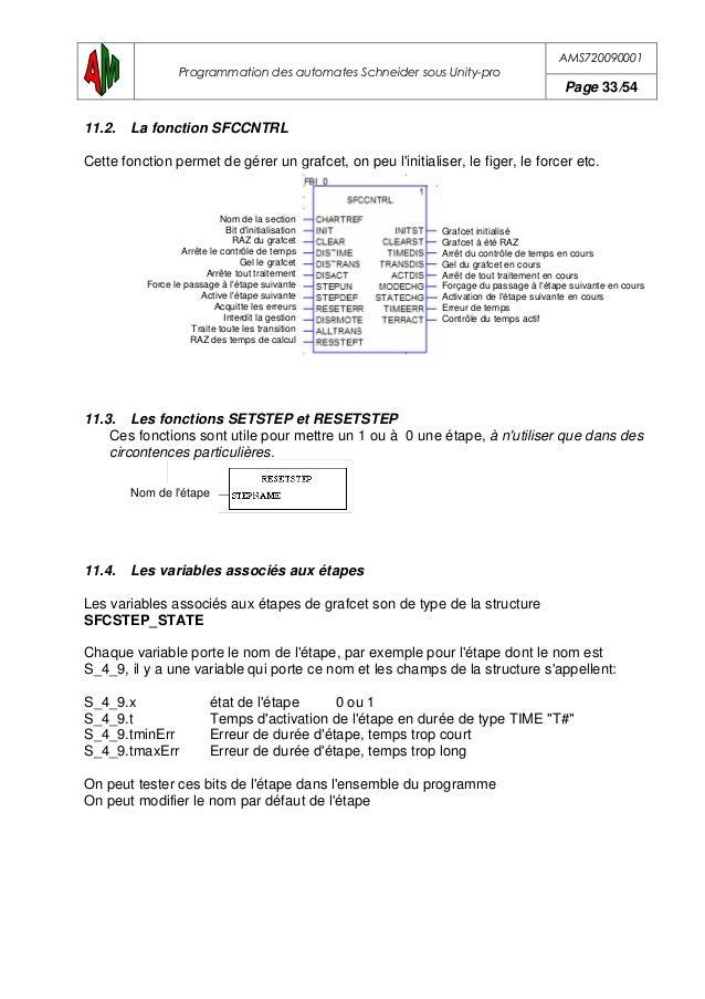 AMS720090001 Programmation des automates Schneider sous Unity-pro Page 34/54 11.5. Actions associer aux étapes Pour réalis...