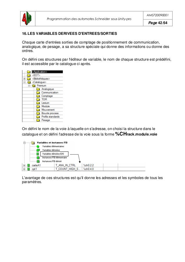 AMS720090001 Programmation des automates Schneider sous Unity-pro Page 43/54 Exemple d'une voie de communication sur le ra...