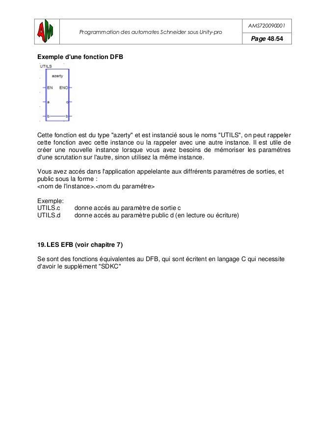 AMS720090001 Programmation des automates Schneider sous Unity-pro Page 49/54 20.LES PRINCIPAUX BIT SYSTEMES Bits de repris...