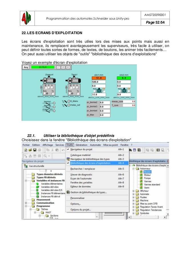 AMS720090001 Programmation des automates Schneider sous Unity-pro Page 53/54 Sélectionner un objet, par exemple une vue d'...