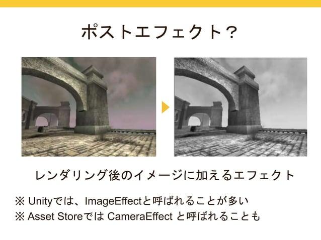 ポストエフェクト?  レンダリング後のイメージに加えるエフェクト  ※ Unityでは、ImageEffectと呼ばれることが多い  ※ Asset StoreではCameraEffect と呼ばれることも