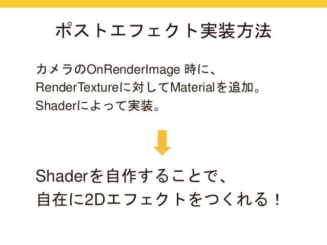 ポストエフェクト実装方法  カメラのOnRenderImage 時に、  RenderTextureに対してMaterialを追加。  Shaderによって実装。  Shaderを自作することで、  自在に2Dエフェクトをつくれる!
