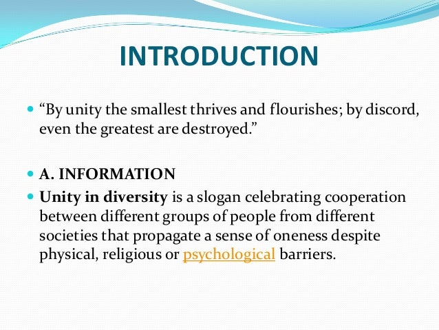 information about unity in diversity