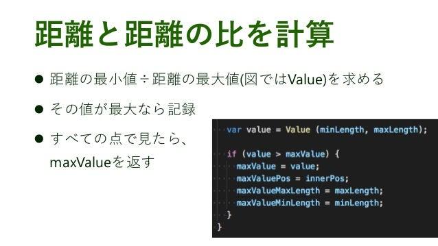 距離と距離の比を計算 ⚫ 距離の最小値÷距離の最大値(図ではValue)を求める ⚫ その値が最大なら記録 ⚫ すべての点で見たら、 maxValueを返す