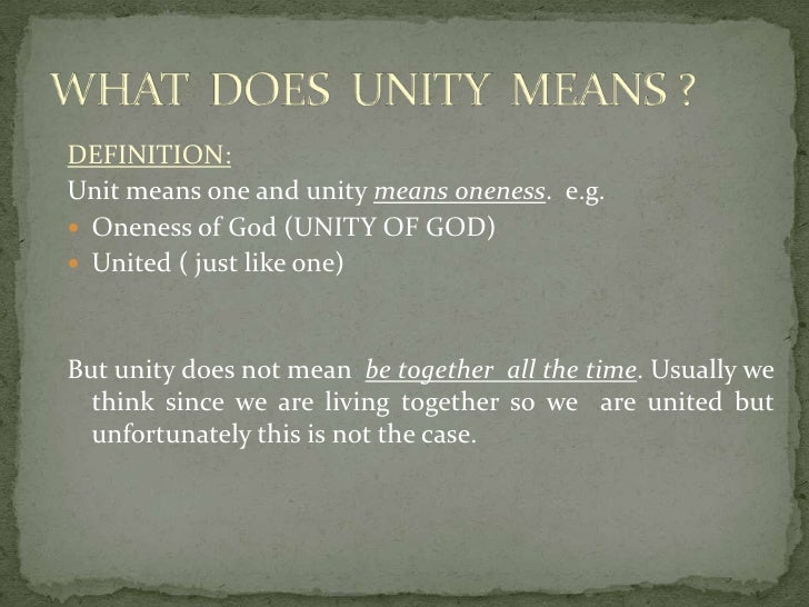 Unity leads to hapiness