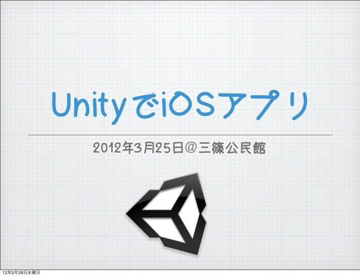 UnityでiOSアプリ               2012年3月25日@三篠公民館12年3月28日水曜日