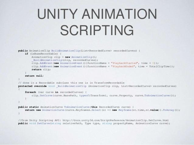 Unity 3D Runtime Animation Generation