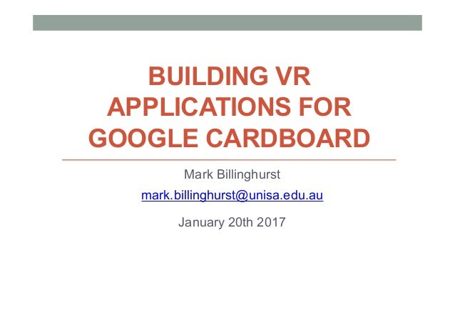 Building VR Applications For Google Cardboard