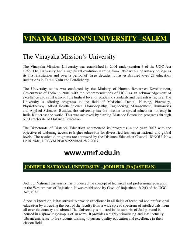 "VINAYKA MISION'S UNIVERSITY –SALEMThe Vinayaka Mission""s UniversityThe Vinayaka Missions University was established in 200..."