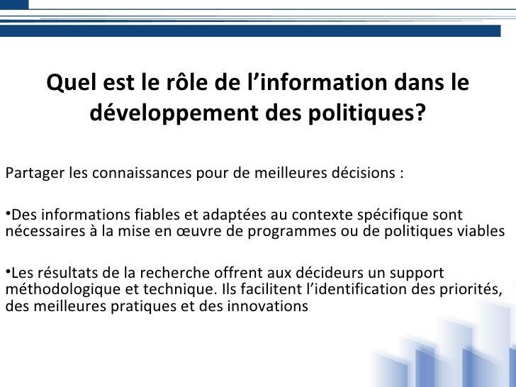 Quelle est la nature des services d'information au développement Slide 3