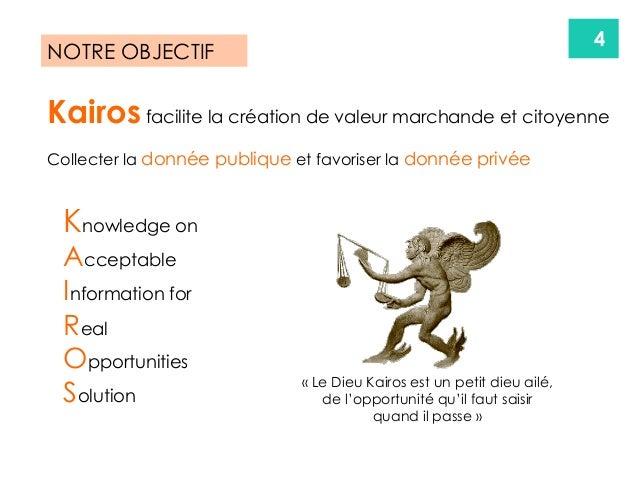 4 Kairos facilite la création de valeur marchande et citoyenne Collecter la donnée publique et favoriser la donnée privée ...