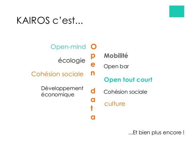 écologie Cohésion sociale Open-mind O p e n d a t a Open tout court Cohésion sociale Développement économique Open bar KAI...