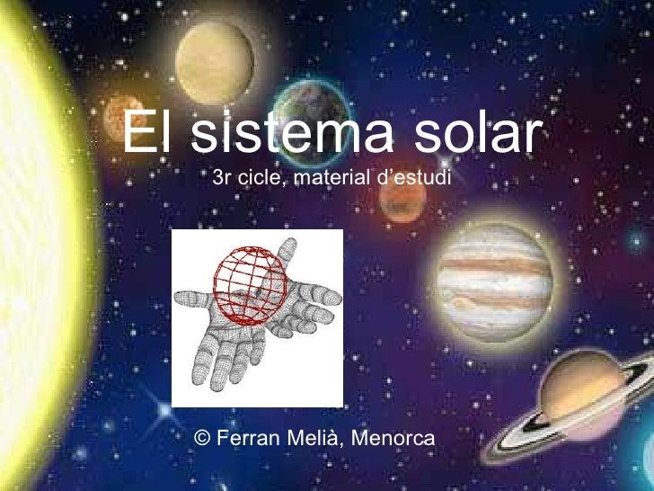 El sistema solar 3r cicle, material d'estudi © Ferran Melià, Menorca