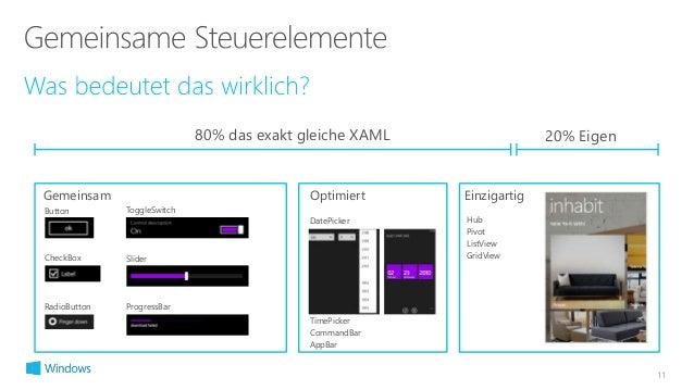 11  80% das exakt gleiche XAML 20% Eigen  Gemeinsam Optimiert Einzigartig  DatePicker  TimePicker  CommandBar  AppBar  But...