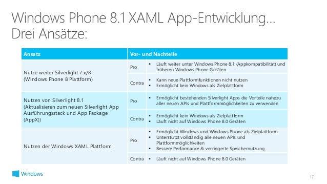 17  Ansatz Vor- und Nachteile  Nutze weiter Silverlight 7.x/8  (Windows Phone 8 Plattform)  Pro   Läuft weiter unter Wind...