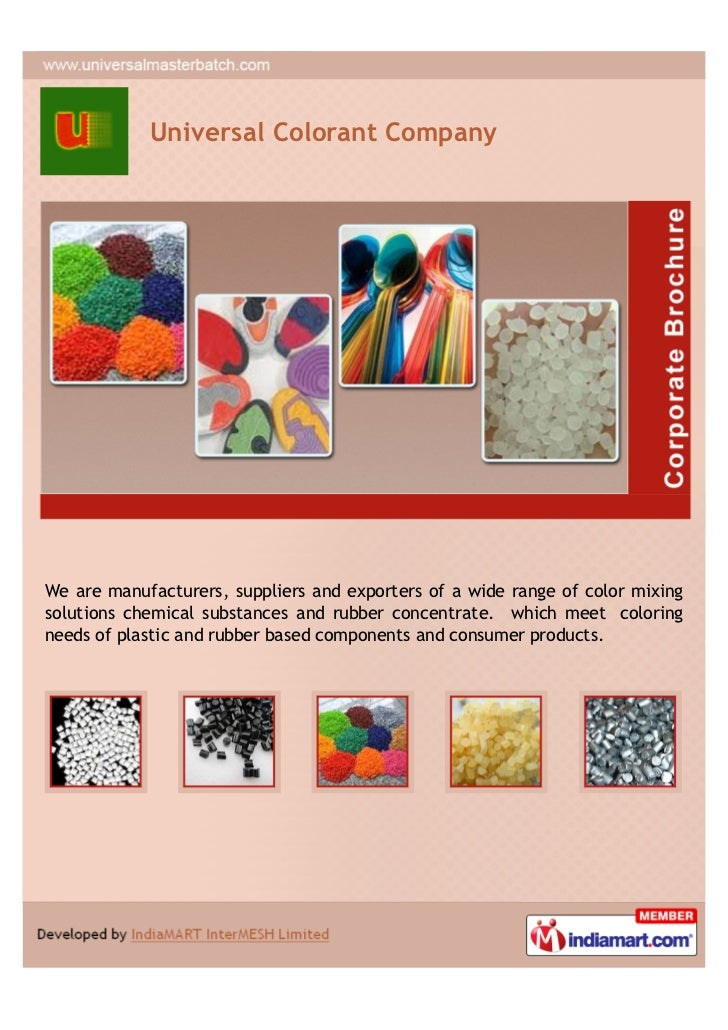 Universal Colorant CompanyWe are manufacturers, suppliers and exporters of a wide range of color mixingsolutions chemical ...