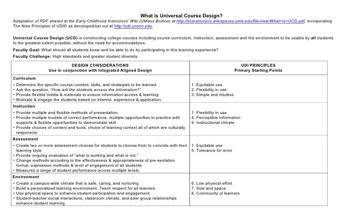 What is Universal Course Design?Adaptation of PDF shared at the Early Childhood Instructors' Wiki (UMass-Boston) at http:/...