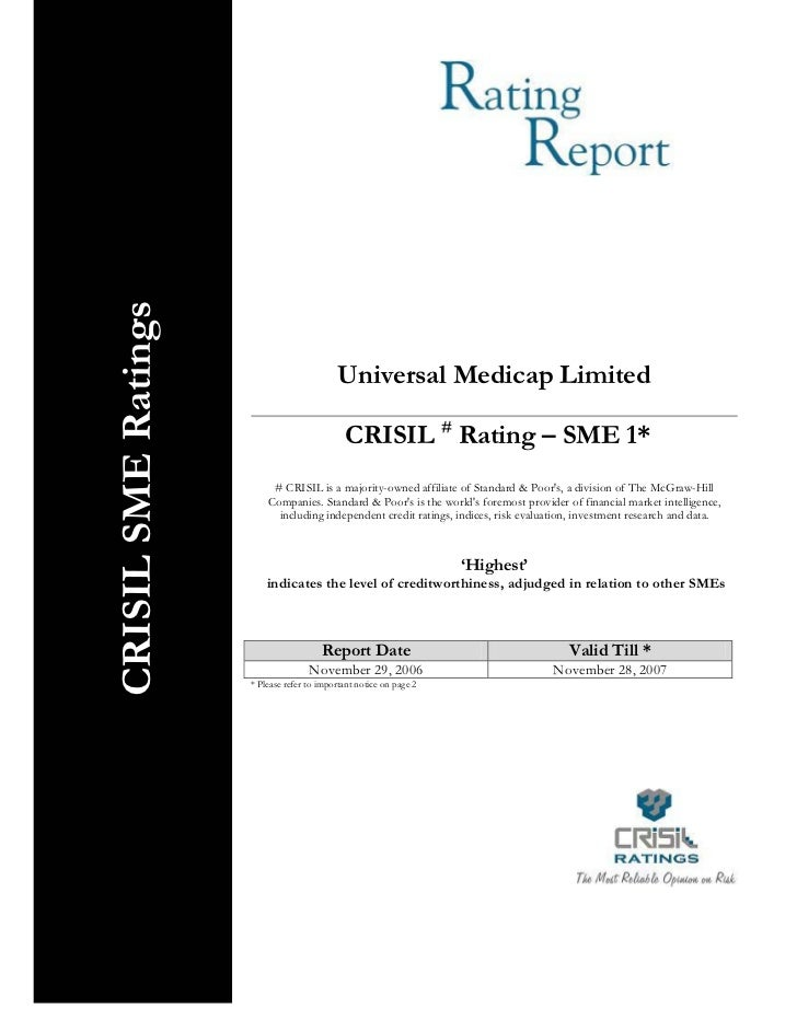 CRISIL SME Ratings                                              Universal Medicap Limited                                 ...