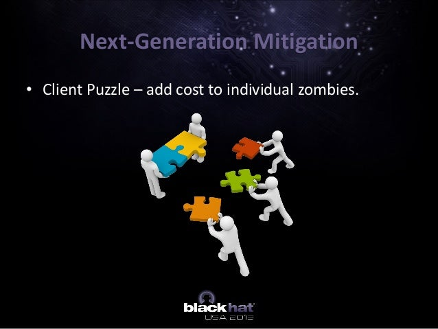 • Client Puzzle – add cost to individual zombies. Next-Generation Mitigation