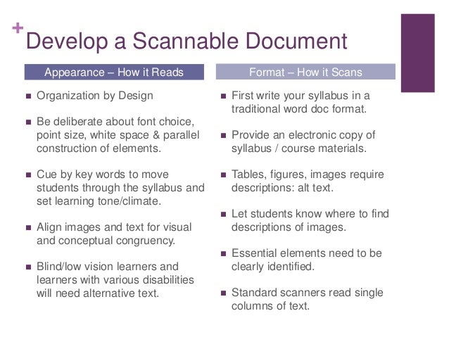 + Develop a Scannable Document  Organization by Design  Be deliberate about font choice, point size, white space & paral...