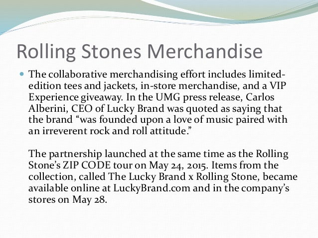 Universal Music and Lucky Brand Introduce Rolling Stones
