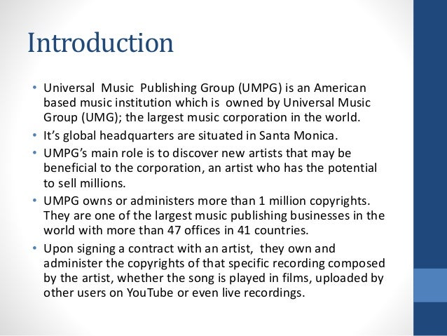 Universal music publishing group (umpg)