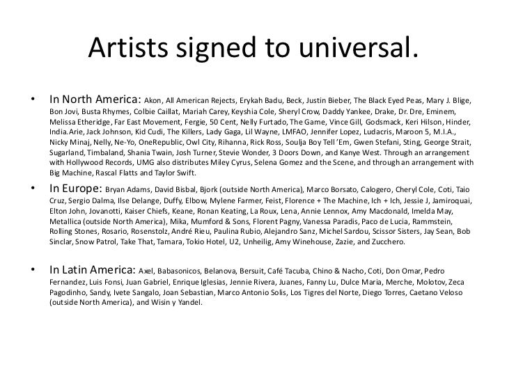 Artists signed to universal.•   In North America: Akon, All American Rejects, Erykah Badu, Beck, Justin Bieber, The Black ...