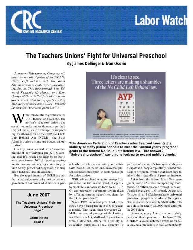 The Teachers Unions' Fight for Universal PreschoolBy James Dellinger & Ivan OsorioSummary: This summer, Congress willconsi...
