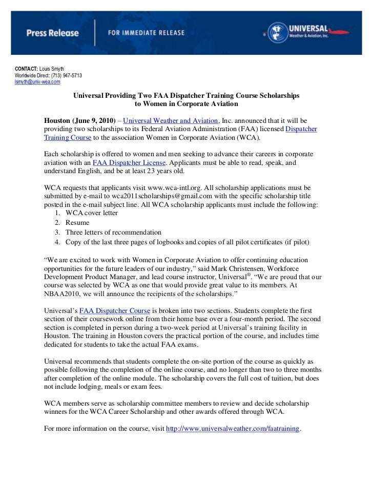 CONTACT: Louis Smyth<br />Worldwide Direct: (713) 947-5713<br />lsmyth@univ-wea.com<br />Universal Providing Two FAA Dispa...