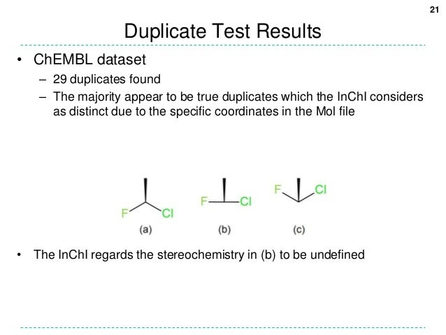 21                   Duplicate Test Results• ChEMBL dataset   – 29 duplicates found   – The majority appear to be true dup...