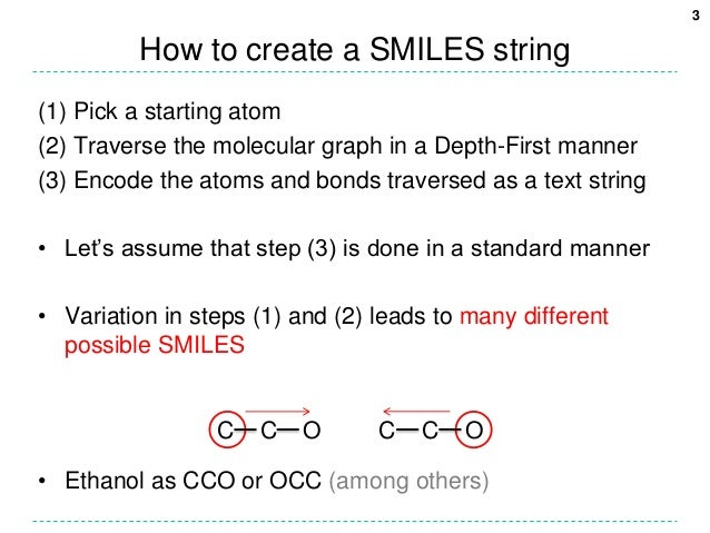 3         How to create a SMILES string(1) Pick a starting atom(2) Traverse the molecular graph in a Depth-First manner(3)...