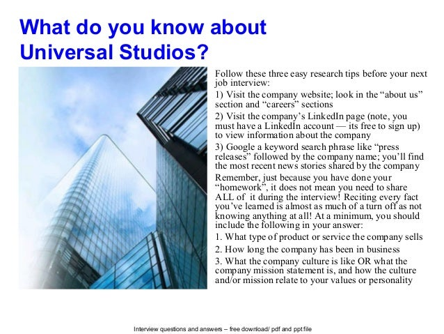Universal studios interview questions and answers