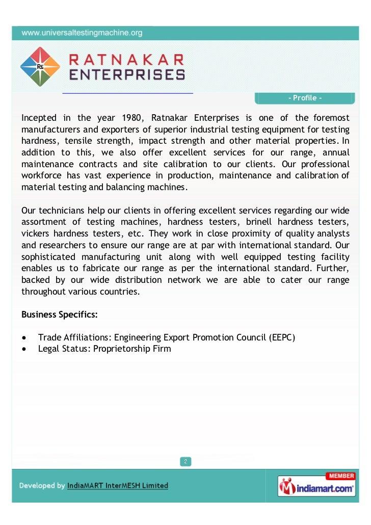 Ratnakar Enterprises, Ichalakaranji, Testing Machines Slide 2