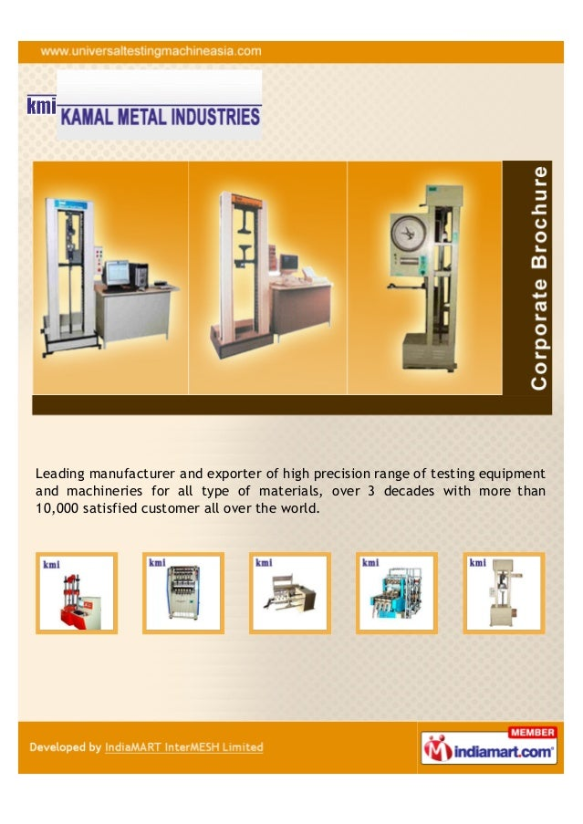 Leading manufacturer and exporter of high precision range of testing equipmentand machineries for all type of materials, o...