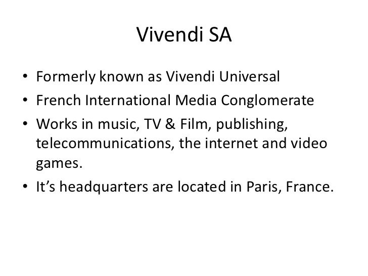 vivendi case analysis At the centre of this analysis is a measure known as ebitda  in vivendi's case there are special reasons why the ebitda number is misleading.