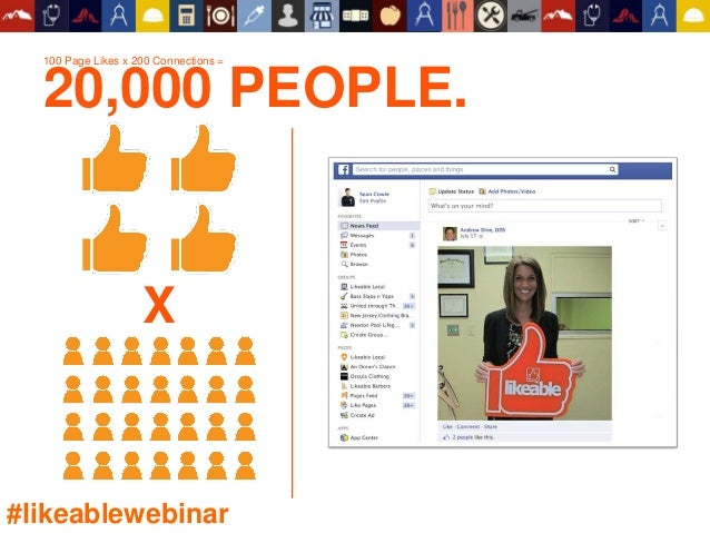 100 Page Likes x 200 Connections = 20,000 PEOPLE. X #likeablewebinar
