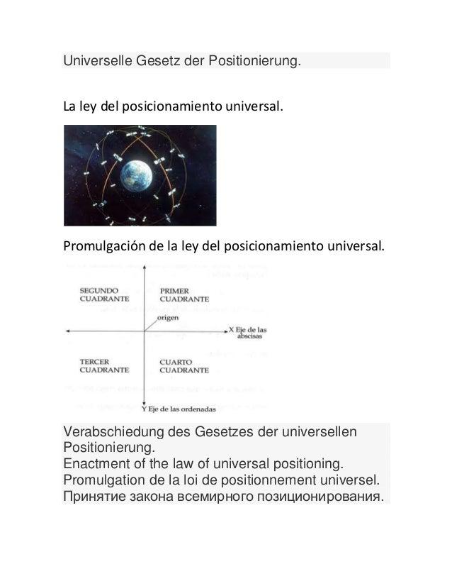 Universelle Gesetz der Positionierung.La ley del posicionamiento universal.Promulgación de la ley del posicionamiento univ...