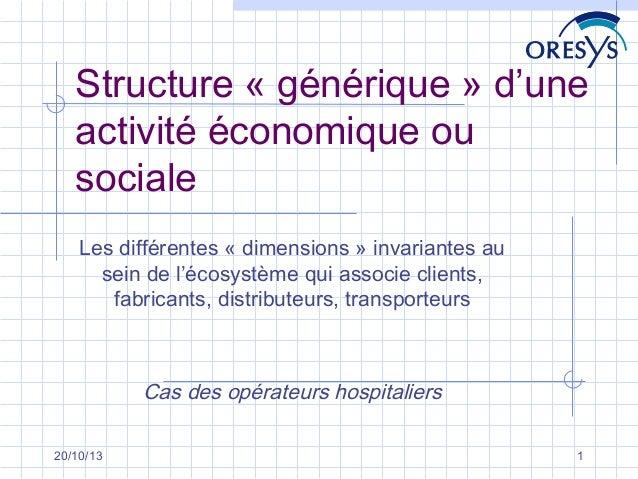 Structure « générique » d'une activité économique ou sociale Les différentes « dimensions » invariantes au sein de l'écosy...