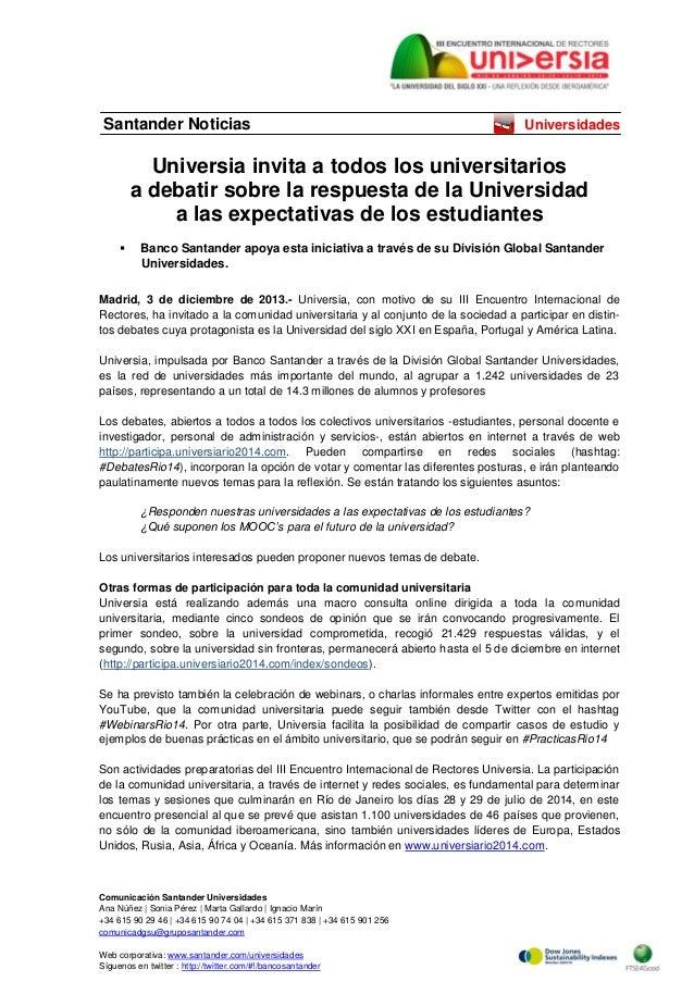 Santander Noticias  Universidades  Universia invita a todos los universitarios a debatir sobre la respuesta de la Universi...