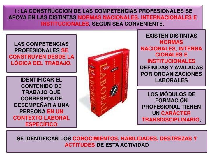 1: LA CONSTRUCCIÓN DE LAS COMPETENCIAS PROFESIONALES SE APOYA EN LAS DISTINTAS NORMAS NACIONALES, INTERNACIONALES E INSTI...