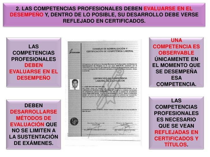 2. LAS COMPETENCIAS PROFESIONALES DEBEN EVALUARSE EN EL DESEMPEÑO Y, DENTRO DE LO POSIBLE, SU DESARROLLO DEBE VERSE REFLEJ...