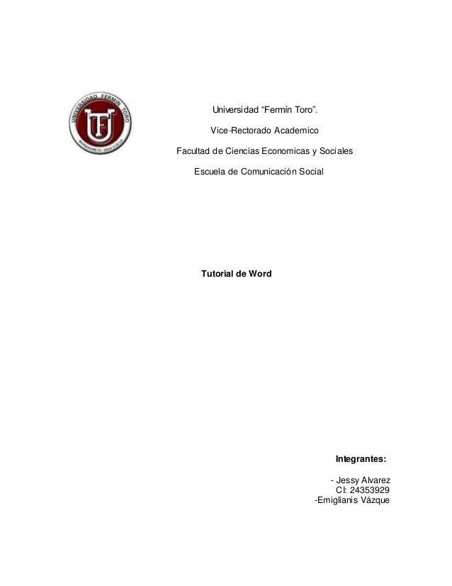 """Universidad """"Fermín Toro"""".  Vice-Rectorado Academico  Facultad de Ciencias Economicas y Sociales  Escuela de Comunicación ..."""