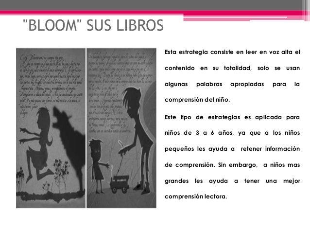 """""""BLOOM"""" SUS LIBROS Esta estrategia consiste en leer en voz alta el contenido en su totalidad, solo se usan algunas palabra..."""