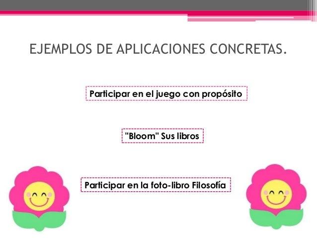 """EJEMPLOS DE APLICACIONES CONCRETAS. Participar en el juego con propósito """"Bloom"""" Sus libros Participar en la foto-libro Fi..."""