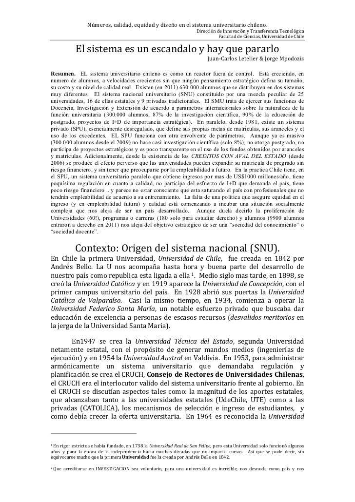 Números, calidad, equidad y diseño en el sistema universitario chileno.                               ...
